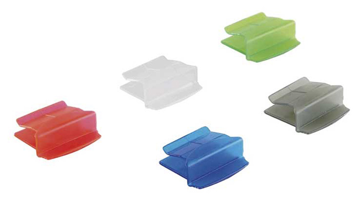 Slide folder clasps - Dimensions L x W x H (cm) : 5,6 x 4,4 x 1,6 - Assorted colours (transparent, gray, blue, green, red)