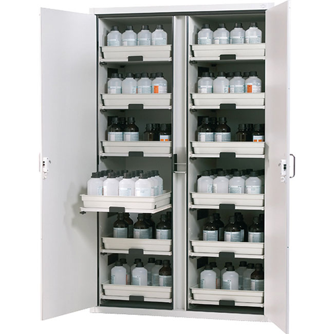Cabinets for storage of aggressive, non flammable hazardous materials