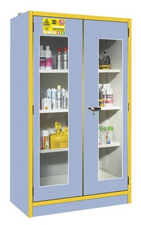30-min. safety tall cabinets for flammable products with glazed doors